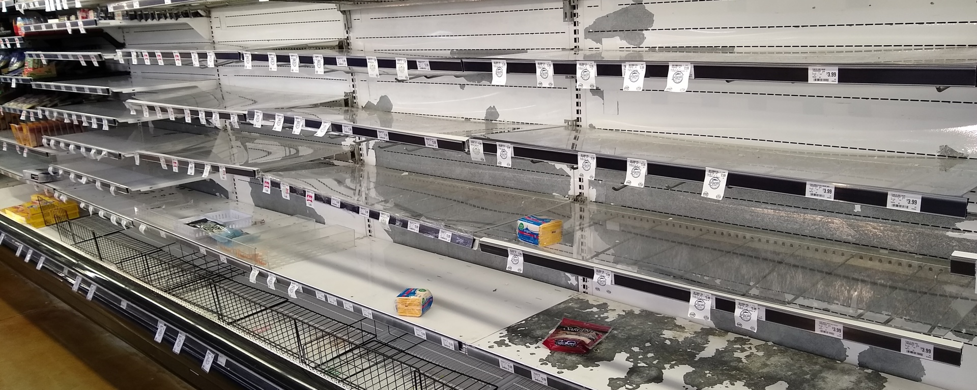 Supermarket shelves in Sandy, Utah, mid-March 2020.